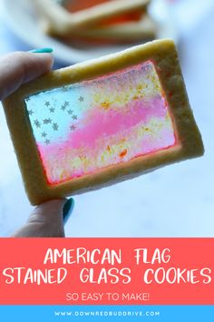Make these adorable American Flag Stained Glass Cookies for a dessert that's perfect for any patriotic holiday or celebration! Homemade Desserts, Delicious Desserts, Dessert Recipes, Yummy Food, Blue Cookies, Sprinkle Cookies, Cobbler, Mousse, Stained Glass Cookies