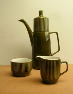 Mid-1960's Moss Green Coffee Set made in the UK ....