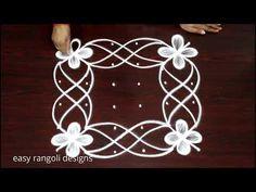 Amazing 6 dots rangoli designs | muggulu | kolam designs - YouTube Rangoli Designs Flower, Rangoli Border Designs, Small Rangoli Design, Rangoli Ideas, Rangoli Designs With Dots, Mehndi Design Images, Beautiful Rangoli Designs, Easy Rangoli, Rangoli Borders