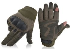 Removeable Index/Thumb Motorcycle Gloves, Olive