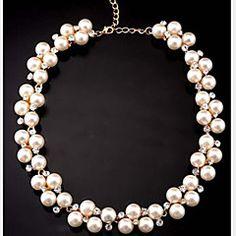 Γυναικεία+Κολιέ+Δήλωση+μαργαριτάρι+σκέλη+Μαργαριτάρι+Προσομειωμένο+διαμάντι+Κράμα+χαριτωμένο+στυλ+κοστούμι+κοστουμιών+Κοσμήματα+Για+Πάρτι+–+EUR+€+8.11