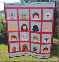 "Free Pattern. LEGO Paper Pieced Star Wars Quilt -- ""All of the patterns for Kristy's fabulous LEGO Star Wars Quilt are available for free in her Craftsy shop. Find the link and more photos of the quilt at Quiet Play."" ~Sew Mama Sew #giftidea"