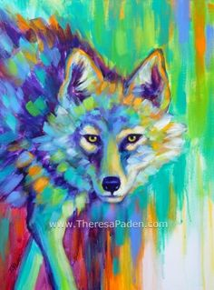 Painted Desert Coyote Painting in Bright Colors by Theresa Paden -- Theresa Paden