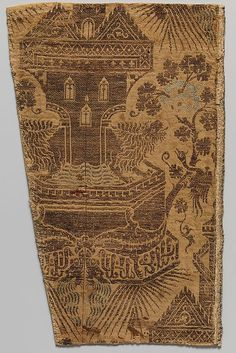 Silk Textile with Architectural Fountain Guarded by Lions, Italian, 14th century