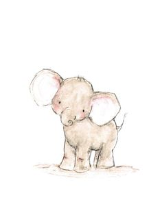 "Nursery art, ""OLLIE,"" archival print by trafalgarssquare on Etsy Art Et Illustration, Illustrations, Baby Face Drawing, Animal Drawings, Art Drawings, Baby Elefant, Art Mignon, Elephant Art, Baby Elephant Drawing"
