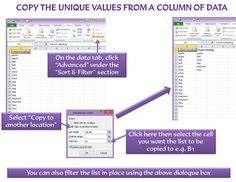 In Microsoft Excel, copy the unique values from a column of data. For more Excel tips, please visit http://www.stonemoor.co.uk/admin-tips/microsoft-office-tips-and-tricks/microsoft-excel-tips/