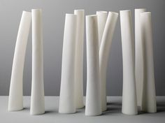 Group of tall bone china vessels, 2008 - Andrea Walsh Ceramics & Glass