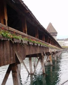 Covered Bridge - Lake Lucerne, Switzerland.  I remember walking across this lovely bridge when I was a young girl of seventeen.