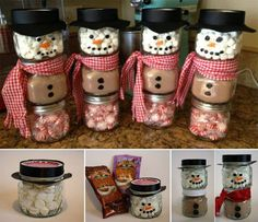 These Hot Cocoa Snowmen are very cute and easy to make . They would be nice Christmas gift . The post The Perfect DIY Hot Cocoa Snowman Gift for Christmas appeared first on The Perfect DIY. hot chocolate snowman gift - I like mason jar idea better, but ad Christmas Projects, Christmas Fun, Holiday Crafts, Holiday Fun, Christmas Decorations, Awesome Christmas Gifts, Christmas Carol, Christmas Names, Christmas Offers