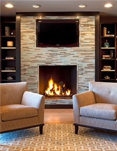 raised fireplace with glass tile all the way up the wall wtv don - Design Fireplace Wall