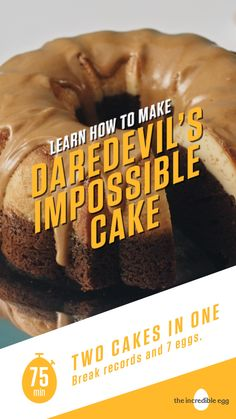 Start your sweet-tooth engines! Daredevil's Impossible Cake is a far-from-impossible, easy holiday dessert recipe that'l Easy Holiday Desserts, Holiday Cakes, Sweet Recipes, Cake Recipes, Dessert Recipes, Bunt Cakes, Cupcake Cakes, Cupcakes, Impossible Cake