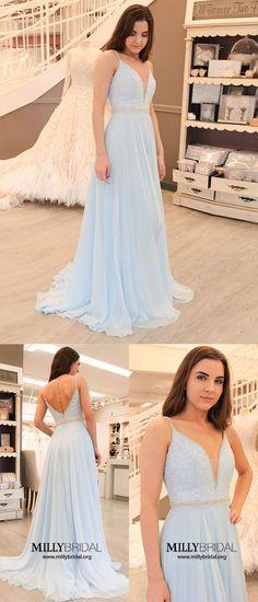 Sky Blue Prom Dresses,A-line Wedding Party Dresses Elegant,V-neck Graduation Dresses Chiffon,Modest Military Ball Dresses Beading #formaldress #bluedresses