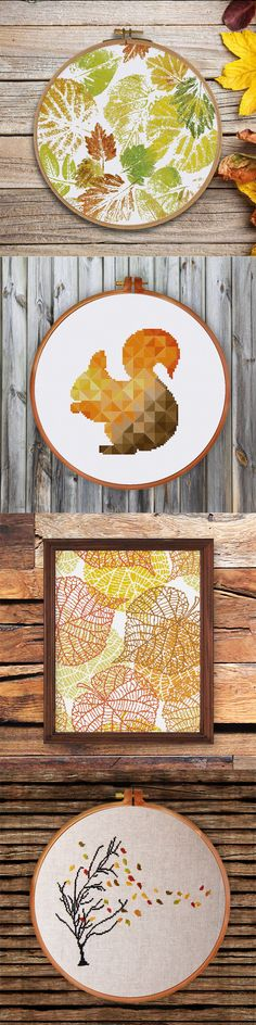 a gorgeous collection of autumn cross stitch pattern and cross stitch kit by Ritacuna