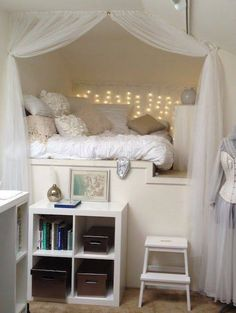 this room is like a blank canvas. The walls are plain white however it gives the space an unexpected fairy land theme along with the fairy lights to accompany it.