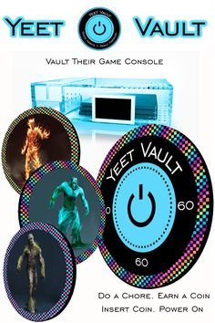 Vault Their Game Console. Yeet Vault is a parental control device that locks game consoles and restricts play time. Parents set allowable time frames and time limits in the Yeet Vault app. Kids enable power by inserting Yeet CoinZ. The TFT Screen provides a timer countdown and the LED lit case provides a visual warning when reaching the time limit. Audible warnings are provided even when wearing headphones. Do a Chore. Earn a Coin. Insert Coin. Power On.