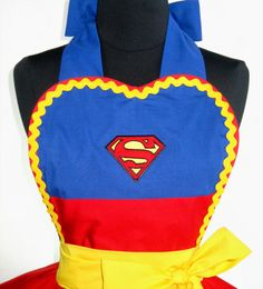 Superman or Superwoman Costume Apron Cosplay by FlirtyandFunAprons