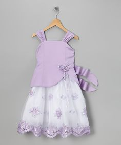Look at this LA Sun Lavender & White Satin Floral Dress - Infant, Toddler & Girls on #zulily today!