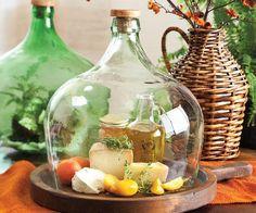 Queijeira de garrafão de vidro reciclado