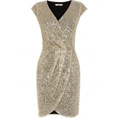 OASIS Sequin Wrap Dress (3.390 RUB) ❤ liked on Polyvore featuring dresses, gold, sequin wrap dress, v neck dress, gold dress, gold sequin cocktail dress and gold cocktail dress