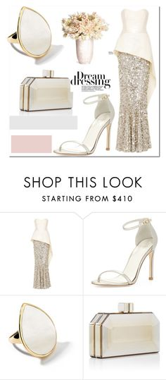 """""""Two Tone Schmansy..."""" by nfabjoy ❤ liked on Polyvore featuring Elizabeth Kennedy, Stuart Weitzman, Ippolita, Judith Leiber, AERIN and twotonedress"""