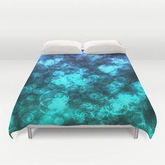 Blue Ocean Bokeh Duvet Cover by Blooming Vine Design - $99.00