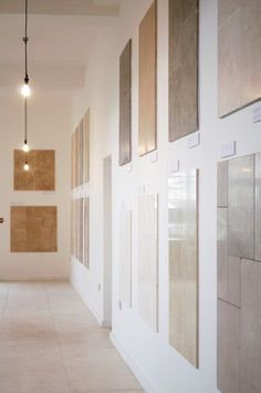 New displays at our new Cotes Mill showroom. The abundance of natural light perfectly highlights the natural variation, veining and fossils present in our natural stone tiles.