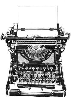 beautiful pen and ink rendering of an old typewriter . I still have mine and works. Rotulação Vintage, Motif Vintage, Vintage Labels, Vintage Images, Vintage Market, Clipart, Vintage Typewriters, Vintage Suitcases, Vintage Luggage