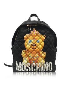 Moschino+Teddy+Bear+Black+Quilted+Nylon+Backpack