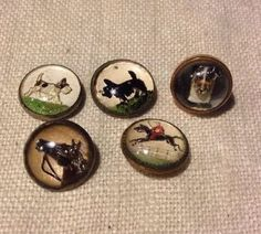 Lot of 5 Vintage Reverse Painted Intaglio Domed Glass Buttons-Horses-Dogs