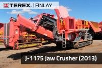 The Terex Finlay J-1175 is a high performance and aggressive tracked mobile jaw crusher. Incorporating a Terex Jaques JW42 jaw crusher and a heavy duty vibrating grizzly feeder the Terex Finlay J-1175 gives optimum production in a range of applications. Its compact size, quick set up times, ease of transport and simple maintenance make the Terex Finlay J-1175 ideal for quarrying, mining, demolition and recycling applications.