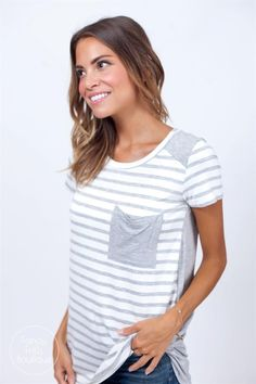 Stripes + pocket detail = the perfect casual summer top!