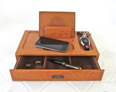 Vintage Wood Valet Men S Jewelry Tray Dresser Organizer