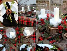 Country Christmas wedding decorations may be one of the least expensive decorations to plan, especially if you live in a rural area where there are a lot of countrysides and farmland. Log Cabin Christmas, Country Christmas, Winter Christmas, All Things Christmas, Christmas Holidays, Christmas Crafts, Christmas Design, Christmas Wedding Decorations, Wedding Reception Decorations