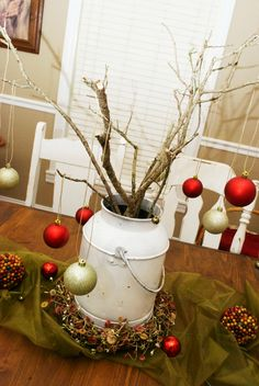 Christmas Centerpiece!  Just need a vintage metal can or milk jug