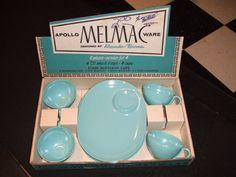 1950's Apolloware Melmac Snack Plates and Cups - MIB - Alexander Barna Designer. $39.00, via Etsy.
