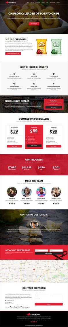 Chipsofic is clean and modern design 3in1 responsive bootstrap #HTML #template for chips, #fries, #restaurant and #food product sellers #website to live preview & download click on image or Visit