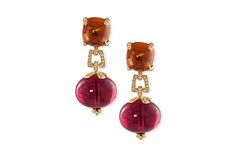 """Goshwara's """"G-One"""" mandarin garnet sugar loaf cabochon earrings also have rubellite and diamonds and are made in 18-karat yellow gold ($43,600)."""