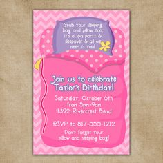 Sleepover Spa Party Chevron Digital Invitation