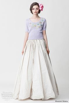 makany marta midsummer night dream bridal ready to wear collection purple knitted half sleeves top pleated a line white dress