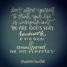 Your life is not insignificant! You have been chosen and commissioned by God for His purposes!  quote by @Charlotte Gambill