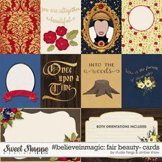 Snow White inspired digital scrapbooking #believeinmagic: Fair Beauty Cards by Amber Shaw & Studio Flergs