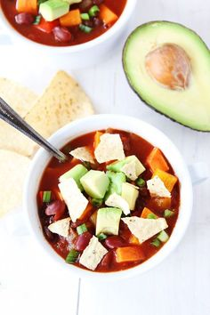 Slow Cooker Vegan Sweet Potato Chili - E (Note: For THM, do not add avocado or tortilla chips as a topping.)