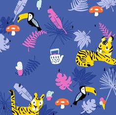 Tropical forest teatime, tiger and toucan fabric by canigrin on Spoonflower - custom fabric