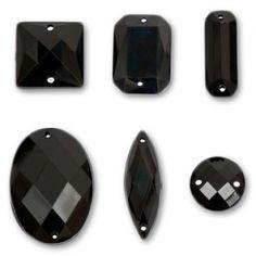 Set di pietre da cucire Jet x25