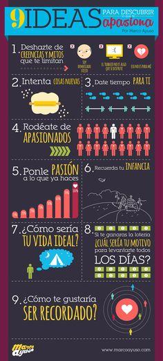 9 ideas para descubrir lo que te apasiona www.marcoayuso.com #infografia #infographic #entrepreneurship
