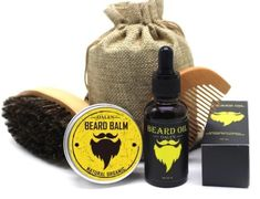 Beard Grooming Kit With Wooden Brush Comb Beard Oil & Balm Scissors Quality Trimming Scissors Beard oil High-Quality Wooden Beard brush Beard Balm High-Quality Wooden Beard Comb Organic Mixed Mineral Oils Beard Oil Kit, Beard Oil And Balm, Beard Brush, Beard Balm, Beard Kits, Beard Ideas, Mustache Grooming, Mens Beard Grooming, Beard No Mustache