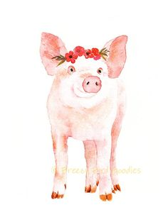 This little pig wearing a flower crown is perfect for decorating a girls room. It is also part of the farm animals with flower crown set. This artwork is a PRINT of my original painting. ------Product Details------ * Size: all prints in my shop are available in the following