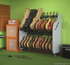 The Band Room Double-Stack™ Guitar & Case Shelf Rack Guitar Storage Guitar Shelf, Guitar Storage, Guitar Display, Guitar Rack, Guitar Stand, Guitar Hooks, Home Music Rooms, Music Studio Room, Ideas Dormitorios