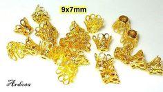 20 filigrane Perlenkappen gold 9x7mm Hütchen von Schmuckmaterial