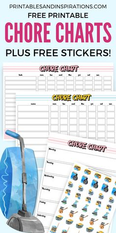 Free Printable Chore Charts And Chore Stickers - Free planner stickers for your bullet journal, for organizing and spring cleaning. Chore charts also for kids! Free Printable Chore Charts, Chore Chart Kids, Kids Stickers, Printable Planner Stickers, Free Printables, Free Planner, Happy Planner, Planner Ideas, Charts For Kids